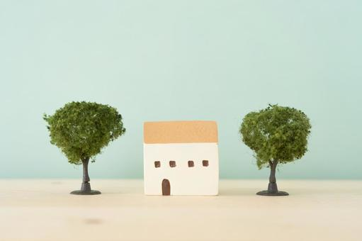 My home, single-family home   House and wooden toys