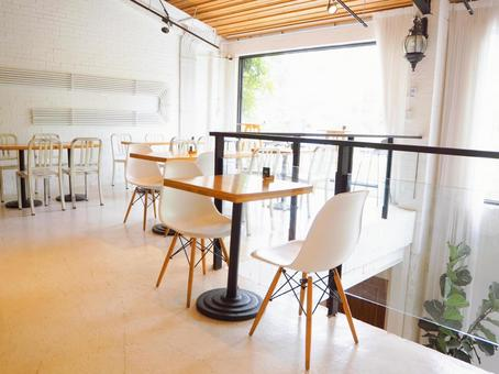 A bright and open fashionable cafe