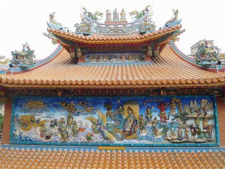 타이페이의 사원 지붕 업