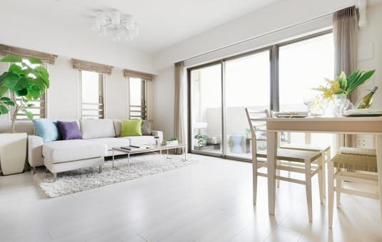 Scandinavian interior living dining with large windows