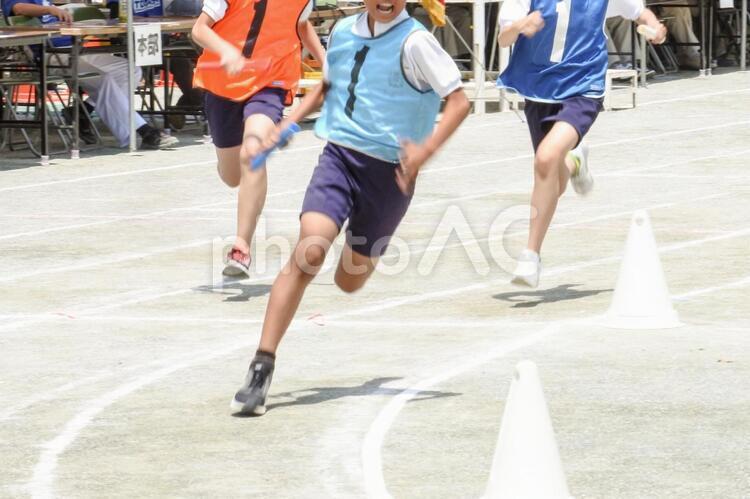 運動会のリレー競争の写真