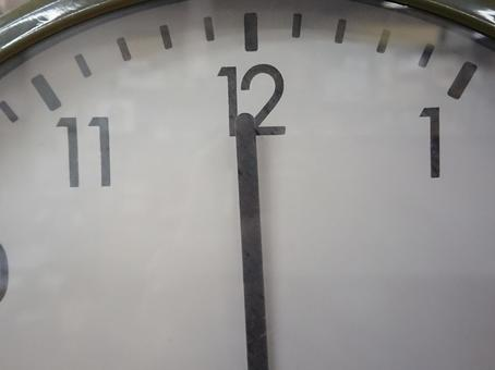 Clock close-up minute hand 12