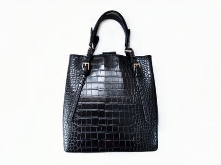 Black crocodile embossed handbag