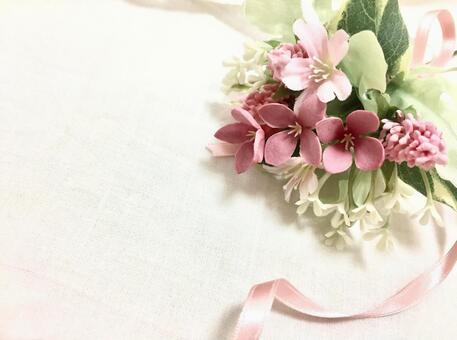 Bouquet and cotton handkerchief