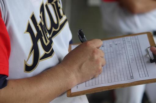 Baseball score sports hand