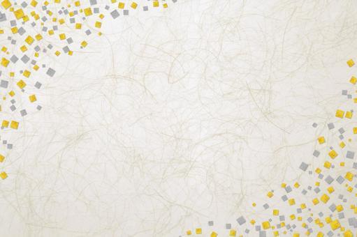 Japanese paper gilt silver foil checkerboard - antique