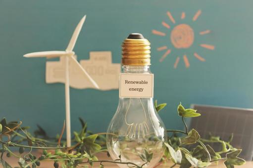 Renewable energy letters and light bulb-shaped bottle
