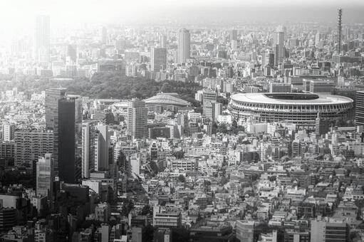 New National Stadium and Tokyo cityscape