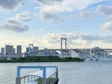 Tokyo scenery with a view of the Rainbow Bridge