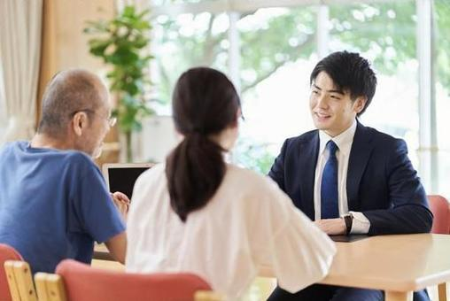 A man in the sales position who makes a proposal