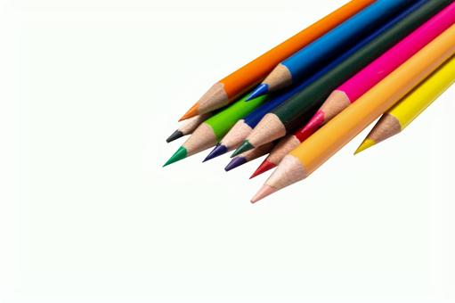 Color pencil bunch white background background through psd