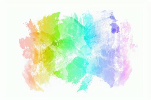 무지개 색깔의 물감의 수채화