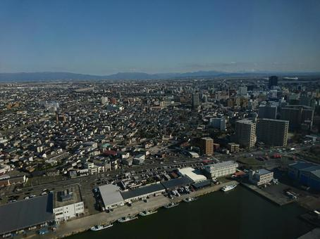 Scenery of Niigata seen from the sky
