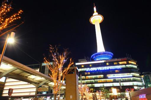 Night view of Kyoto Tower