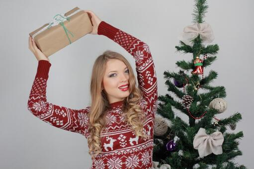 Female with Christmas tree and present 6