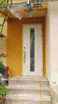 Entrance while painting outer wall