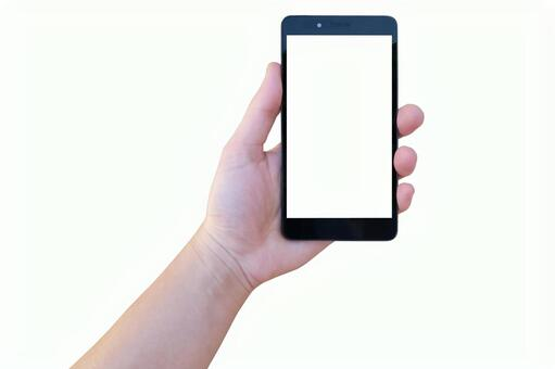 Hand with smartphone and white background-for compositing