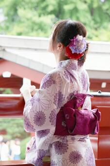 A woman in a yukata