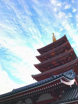 Blue sky and Sensoji temple five-story pagoda