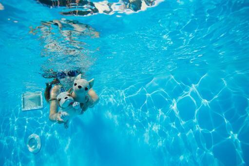 女孩1潜水与水下摄影的毛绒玩具