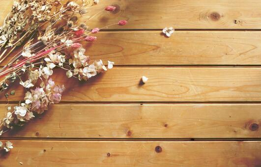 Dried flower image Material Wood grain back