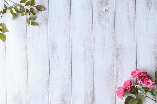 White wood grain and rose flowers