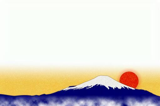 New Year's card (Mt. Fuji-white background-horizontal)-PSD