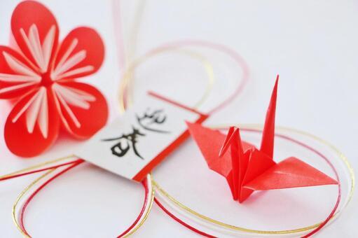 New Year's card Origami crane Plum blossom