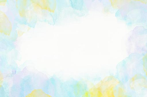 [High resolution 350] Watercolor frame Background material Yellow and lilac colors based on light blue