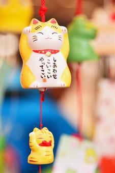 Beckoning cat wind bell