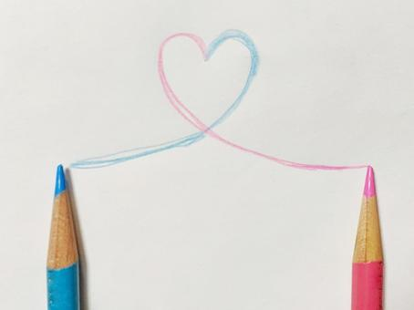 Happiness, connection, heart, romance, partner, colored pencils