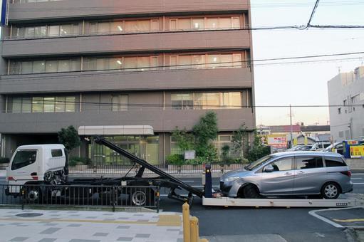 Accident image Burst wrecker car loading car