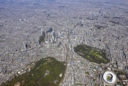 Tokyo scenery, Shinjuku area, aerial photography