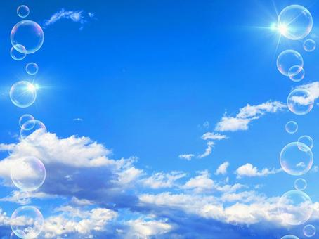 Refreshing blue sky and bubble background material_a_07