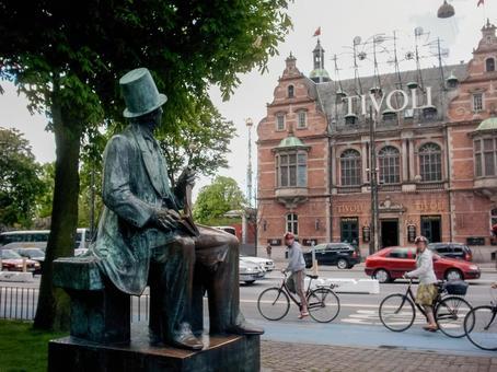 Tivoli Park and Andersen Statue in Copenhagen