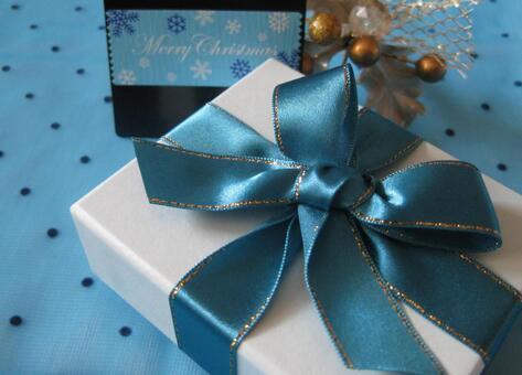 圣诞礼物蓝丝带E