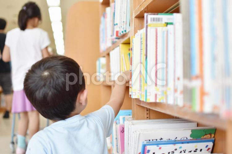 図書館の本を取る子供の写真