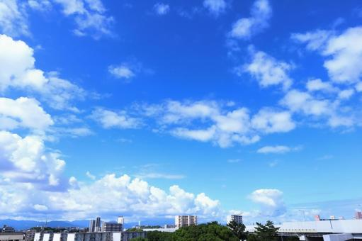 Beautiful cloud white and bright blue floating in the summer sky