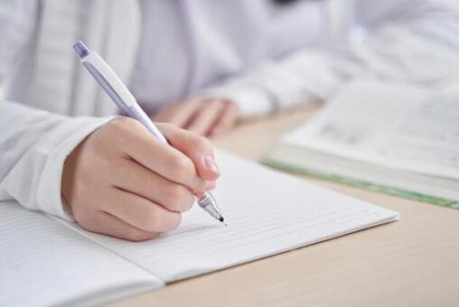 Living Japanese girl doing homework