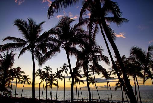 Beautiful sunset on the Big Island, Kohala Coast, Waikoloa