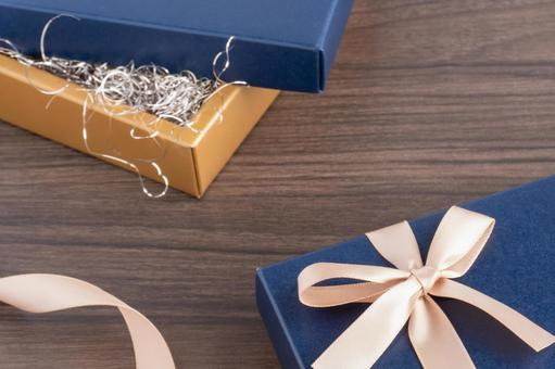 Blue gift box and ribbon