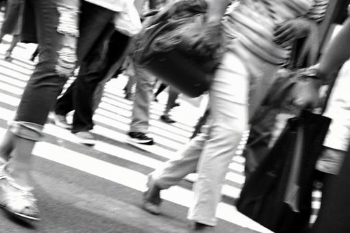 Modern society traveling people Black and white