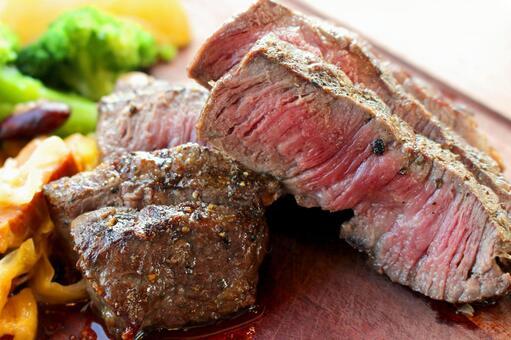 Steak of aged meat