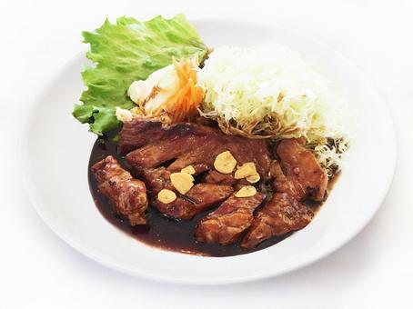 Garlic steak / meat / food