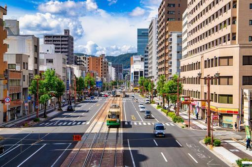 Scenery of Hiroshima city where the train runs
