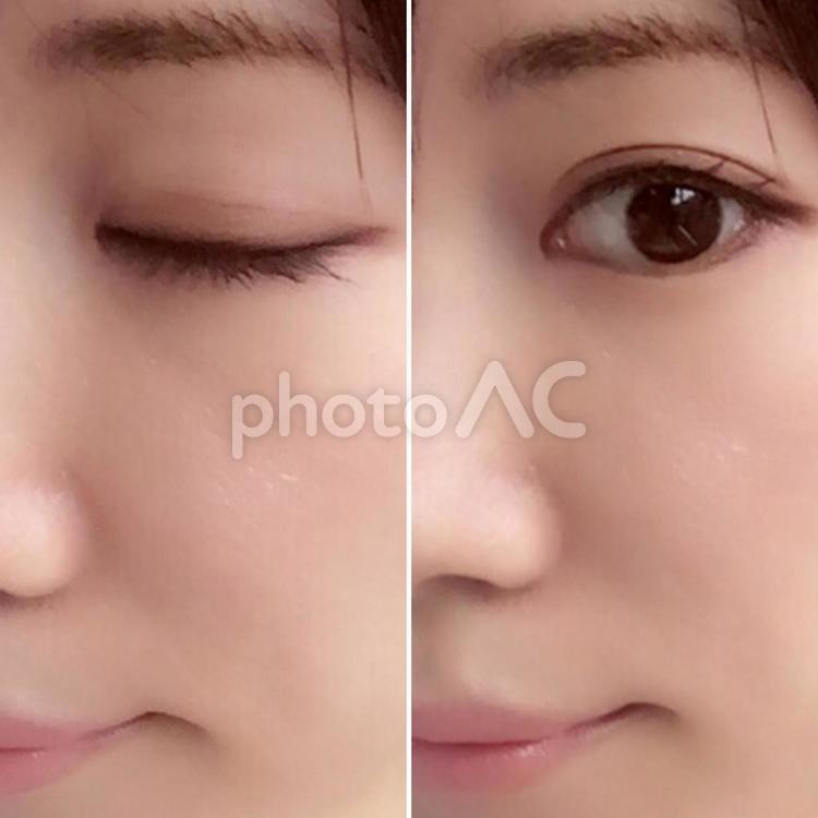 閉じた目と開けた目の比較の写真