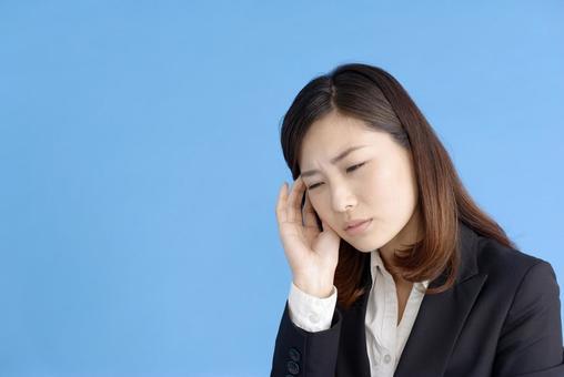 A woman with a headache