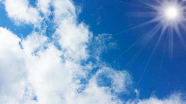 Blue sky, clouds and sun background 0701