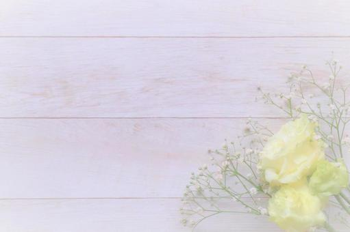 Gentle healing background of flowers and white wood Kasumi-so wood grain material