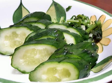 Nukazuke slices of cucumber